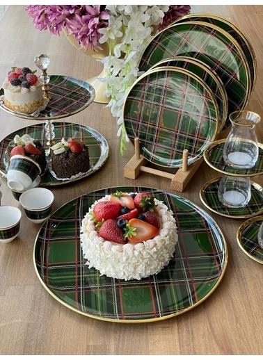 ROSSEV Ekose Yeşil 33 Parça Çay & Kahve Seti Renkli